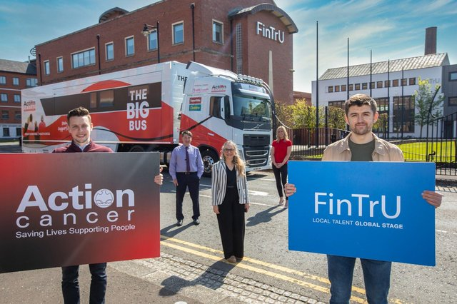 Conor Winchester, Charity Committee FinTrU, Gareth Kirk, Action Cancer CEO, Katrien Hoppe, Chief of Staff FinTrU, Lucy McCusker, Corporate Fundraising Manager, Action Cancer and Enda Hamilton-Fitzpatrick, Charity Committee FinTrU
