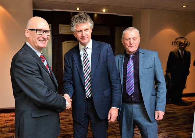 Pacemaker Press Belfast 13-10-2015: The new Loyalist Communities Council being formed. Pictured are Tony Blair's former Chief of Staff Jonathan Powell, PUP leader Billy Hutchinson and Jackie McDonald.