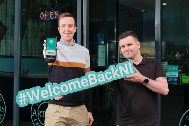 loyalBe founder and CEO, Cormac Quinn with Jonathan from Arthur's Coffee House & Sandwich Bar