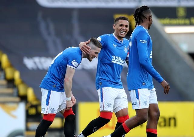 Rangers' Ryan Kent (left) celebrates scoring against Livingston. Pic by PA.