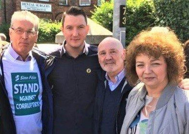 John Finucane – second from left – has hit out at the government for meeting the Loyalist Communities Council  (pictured to his left is fellow Sinn Fein member Gerry Kelly, and to his right are Alex Maskey and Caral Ni Chuilin)