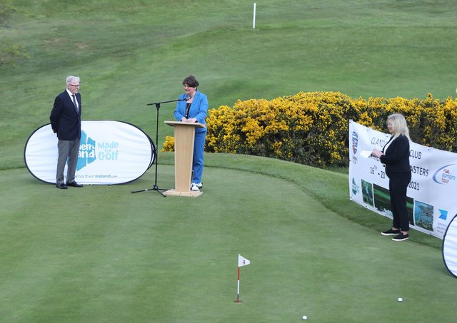 Clandeboye Golf Club captain Owen Trainor, left, Northern Ireland First Minister Arlene Foster and Deputy First Minister Michelle O'Neill at Wednesday's launch of the PGA Europro Tour event at Clandeboye Golf Club near Bangor in Co Down. Photo: Niall Carson/PA Wire