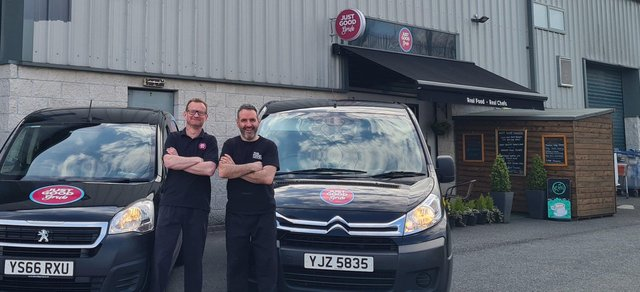 Mark Haughey and John McCartney, the founding chefs of JustGoodGrub in Newry
