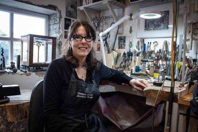Heather McFadden in her workshop at Gobbin's Crafts
