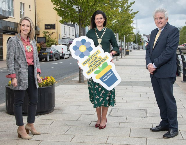 Laura Devlin, Chair Newry, Mourne and Down District Council, Emma Mullen, President Newry Chamber of Commerce and Trade and Brendan Kearney, Regional Chair of FSB in NI at the launch of the 2021 Northern Ireland Small Business Conference