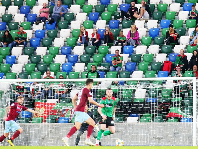Fans pictured at last season's Irish Cup final between Glentoran and Ballymena United