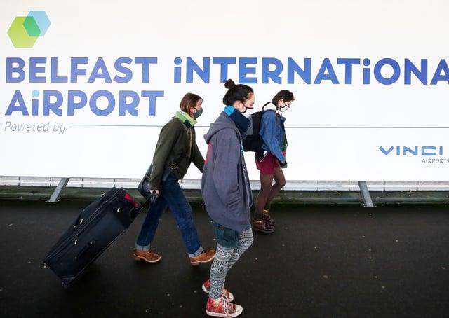 Press Eye - Belfast - Northern Ireland - 14th January 2021Passengers at Belfast International Airport in Co. Antrim. Picture by Jonathan Porter/PressEye