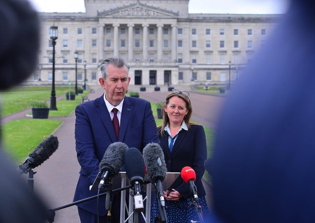 Edwin Poots and Paula Bradley at Stormont last night