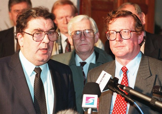 UUP leader David Trimble, right, and SDLP leader John Hume won the Nobel Peace Prize for their work in securing the Belfast/Good Friday Agreement. Photo by Brian Thompson/PA. SEE PA