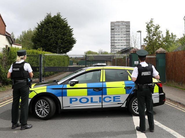 PSNI officers pictured at the scene of the security alert at Finaghy Primary School, Belfast. (Photo: Presseye)