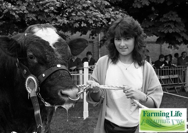 Esther Wilson from Armagh with Bellringer Two, the champion Shorthorn at the Balmoral Show in May 1991. The cow was owned by Tommy Irwin of Fintona. Picture: News Letter/Farming Life archives