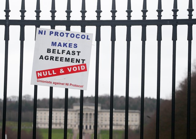 Press Eye - Belfast - Northern Ireland - 7th February 2021Anti irish Sea border in relation to the Northern Ireland Protocol on the gates of Stormont. Picture by Jonathan Porter/PressEye