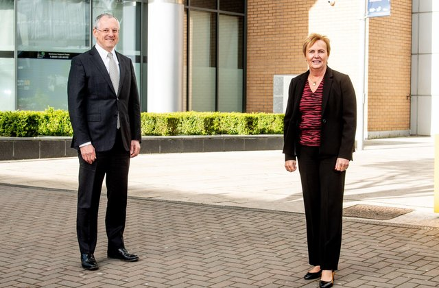 Kevin Holland, CEO, Invest NI with Jacqui Dixon, Antrim and Newtownabbey Borough Council