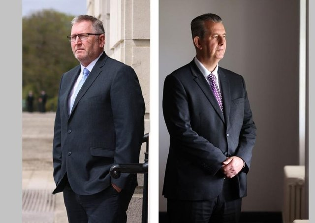 Looking left and looking right. The likely next Ulster Unionist Party leader Doug Beattie MLA and the new DUP leader Edwin Poots MLA, both pictured at Stormont last week. Mr Beattie is projecting a more liberal unionism, and Mr Poots is widely seen as representing a more traditional unionism. Pics by Kelvin Boyes, PressEye