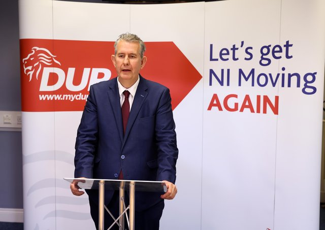 DUP leader designate Edwin Poots pictured inside party headquarters in east Belfast, after winning the leadership race on Friday. Mr Poots has now said that he has requested a meeting with Boris Johnson over the contentious protocol. Photo by Kelvin Boyes / Press Eye