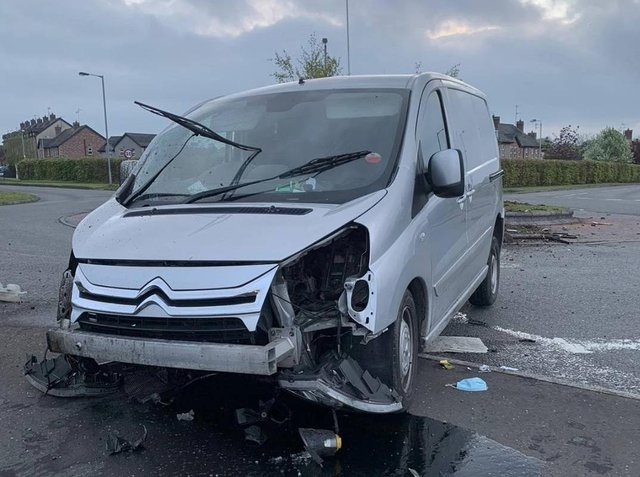 PSNI picture of the van which collided with the roundabout at Clonoe.