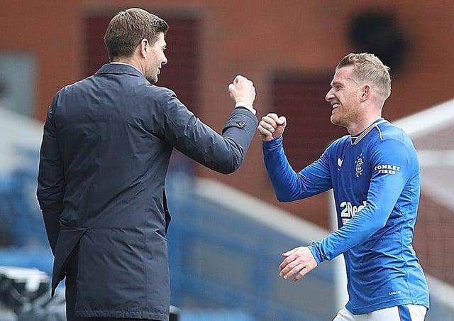 Rangers manager Steven Gerrard (left) and Steven Davis. Pic by Getty.
