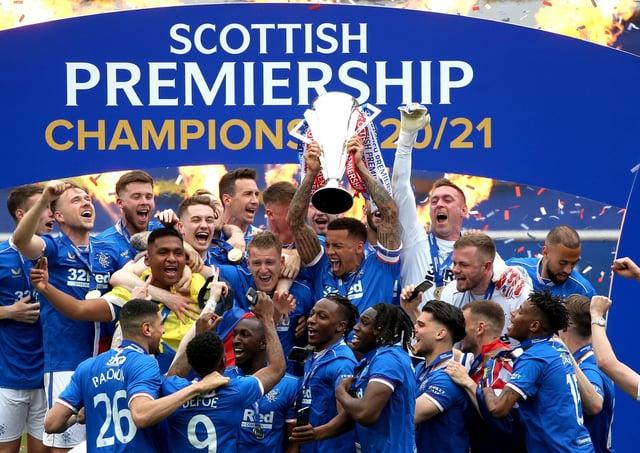 Rangers celebrate Scottish Premiership title glory. Pic by PA.