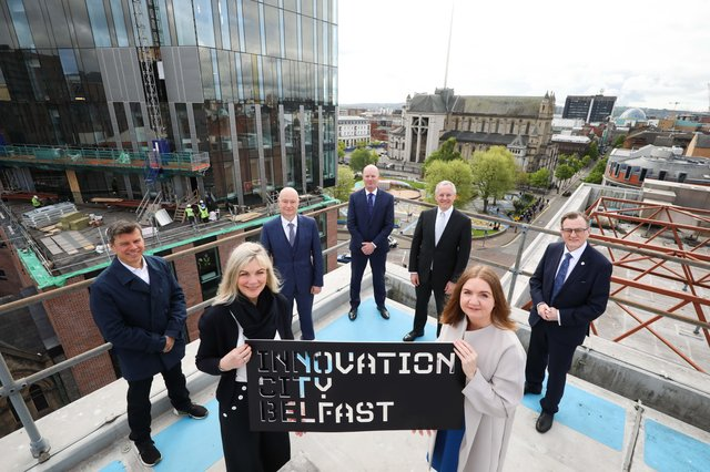 Suzanne Wylie, Chair of Innovation City Belfast and Chief Executive, Belfast City Council, Steve Orr, Chief Executive Officer Catalyst, Paul Bartholomew, Vice Chancellor Ulster University, Joe O'Neill Chief Executive Belfast Harbour, Kevin Holland, Chief Executive Officer, Invest Northern Ireland, Professor Ian Greer, President and Vice Chancellor Queen's University Belfast, Jayne Brady, Belfast Digital Innovation Commissioner