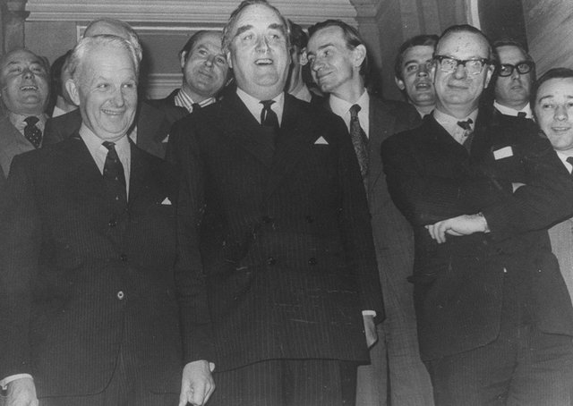 Far left, Brian Faulkner pictured with Secretary of State William Whitelaw in 1973. Picture: Pacemaker
