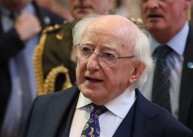 Irish President Michael D Higgins was giving a speech about the Irish famine. Photo credit should read: Brian Lawless/PA Wire.