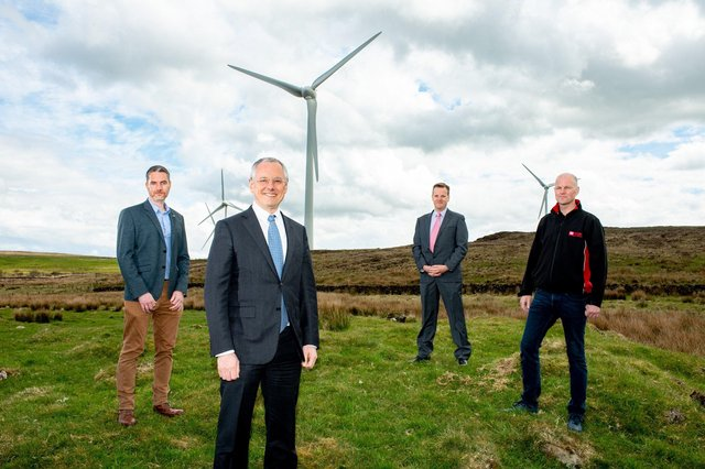 Paul Neary, Director, Neo Environmental with Kevin Holland, CEO, Invest NI, David McMullan, co-founder and Director, Skylark Control and Samuel Knox, Managing Director, Knox Electrical