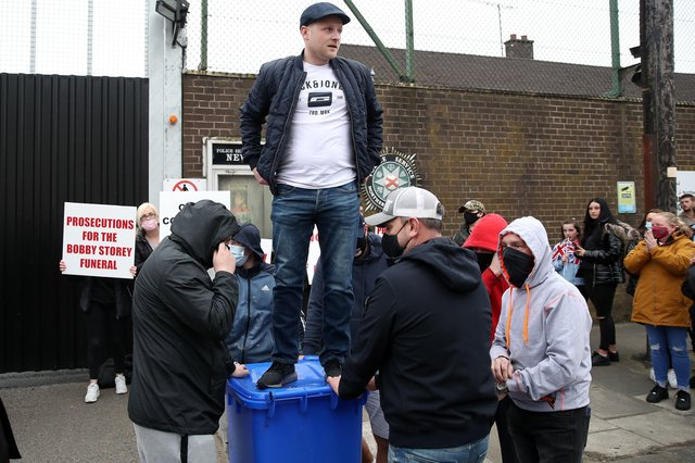 Jamie Bryson was mocked for delivering  a speech against the Irish Sea border from atop a blue wheelie bin outside the PSNI station in Newtownards last month. Photograph by Declan Roughan / Press Eye