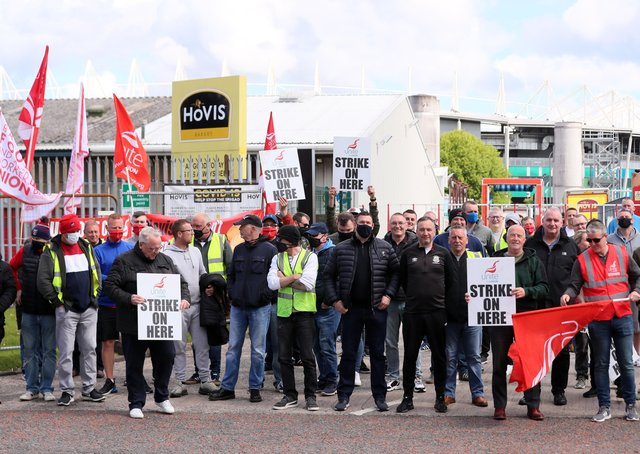 Hovis workers hold strike action at the company factory on Apollo Road in south Belfast. Picture by Jonathan Porter/PressEye