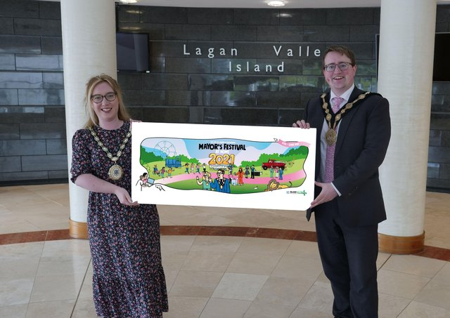 Mayor and Mayoress Trimble promote the Lisburn & Castlereagh City Council Mayor's Festival at Home that will take place from 17th - 22nd May.
