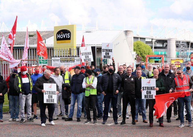 Hovis workers who held all-out strike action at the company's factory on Apollo Road in south Belfast.