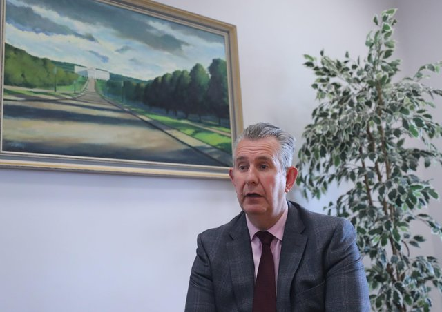 New DUP leader Edwin Poots at the party's offices in Stormont Parliament Buildings.  Picture: Niall Carson/PA Wire