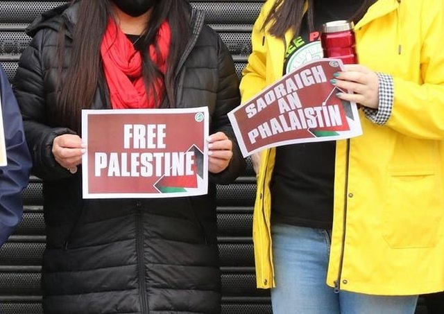 Many of those protesting in Armagh on Saturday carried pro-Palestinian flags, banners and posters