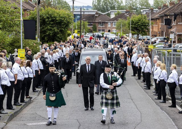 Photo dated 30/06/20 of the funeral procession of senior Irish republican and former leading IRA figure Bobby Storey in west Belfast.