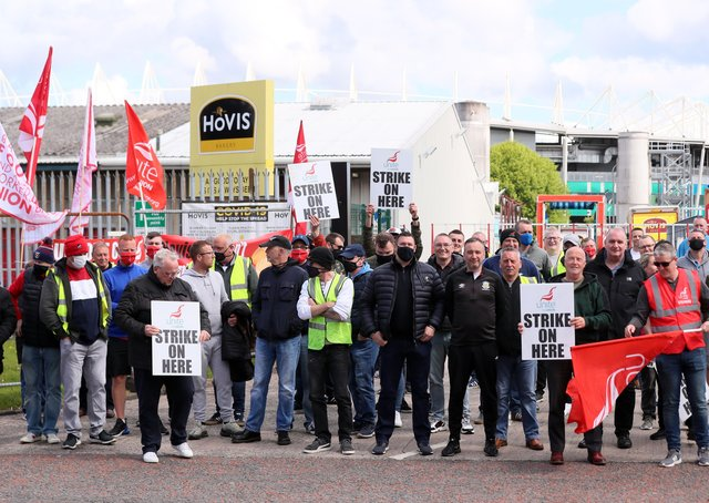 Hovis workers hold all-out strike action at the company's factory on Apollo Road in south Belfast.  Picture by Jonathan Porter/PressEye