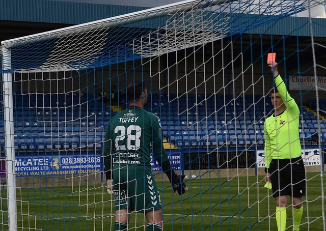 Crusaders keeper Jonathan Tuffey is sent off during a penalty shootout in the Irish Cup semi-final against Larne at Mourneview Park in Lurgan. Picture: Colm Lenaghan/Pacemaker