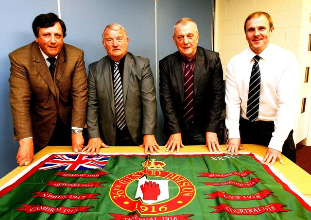 The Loyalist Communities Council (LCC) in 2016 - from left David Campbell, Jim Wilson, Jackie McDonald and Winston Irvine.   Picture By: Pacemaker Press.