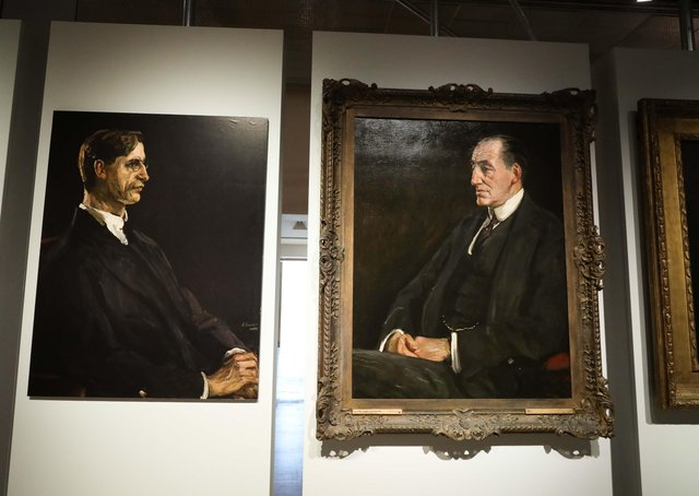 The exhibition includes portraits of De Valera and Lord Carson