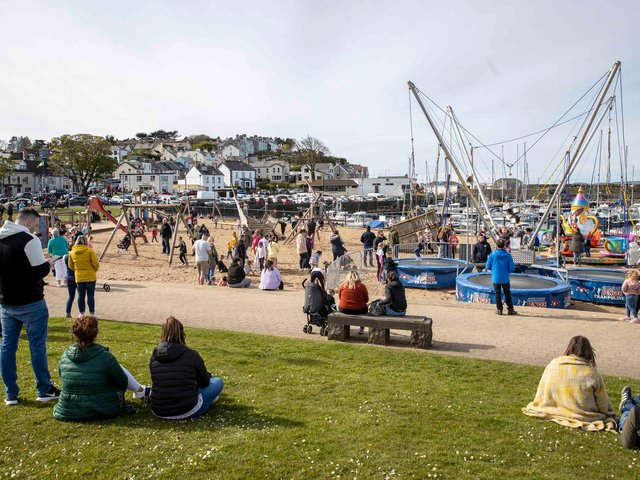 People enjoying the spring sunshine in Ballycastle earlier this month. (Photo:  McAuley Multimedia Ltd)