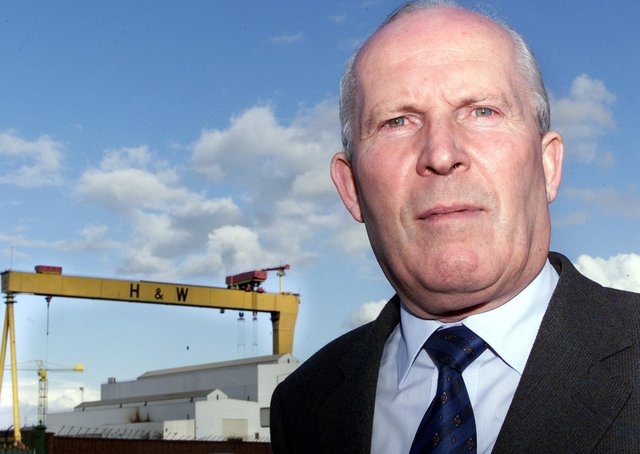 Cllr Jim Rodgers in the shadows of the Harland and Wolff cranes.Picture by Brian Little