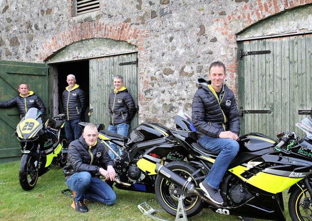 Trison McMullan Racing riders Barry Davidson, Darryl Anderson and Ryan Fenton with team owner Trison McMullan and mechanic William Graham. Picture: Martin McCormick.