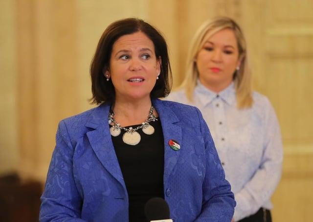 Sinn Fein President, Mary Lou McDonald (front) and deputy First Minister and Sinn Fein vice-President, Michelle O'Neill.