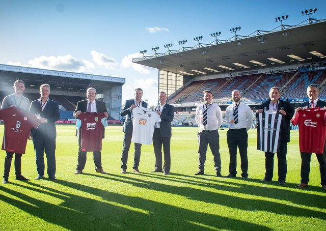 Portadown manager Matthew Tipton (right) at Burnley's Turf Moor alongside representatives from Ayr United, Llandudno and Cobh Ramblers following confirmation by the Premier League side of strategic partnerships with the four clubs. Pic courtesy of Burnley