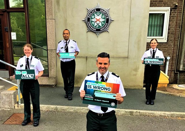 The picture which accompanied the PSNI's tweet on Monday (it was not captioned with the names of the officers)