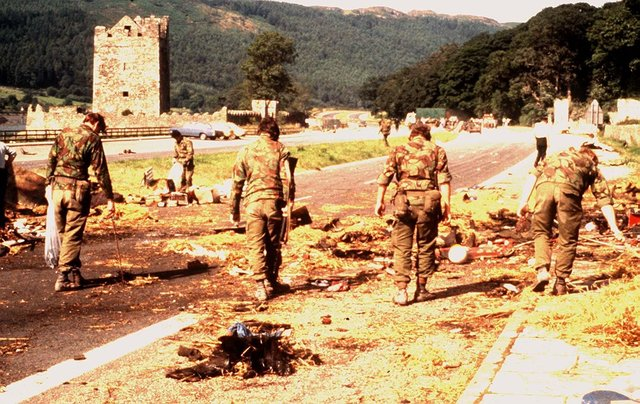 Scene of the IRA's bomb attack outside Warrenpoint which killed 18 members of the Parachute Regimentin 1979. Photo: Pacemaker.