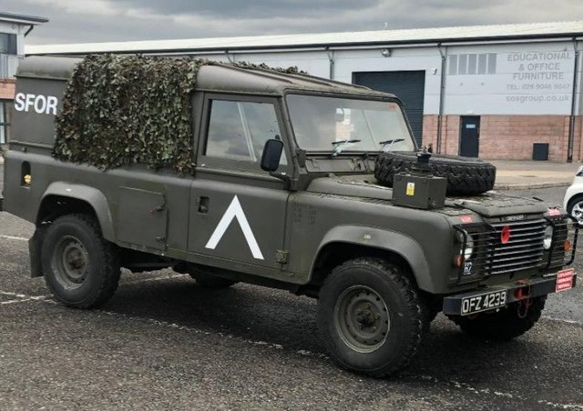 1987 army Land Rover going under the hammer in Belfast on May 26. Photo: On The Square Emporium