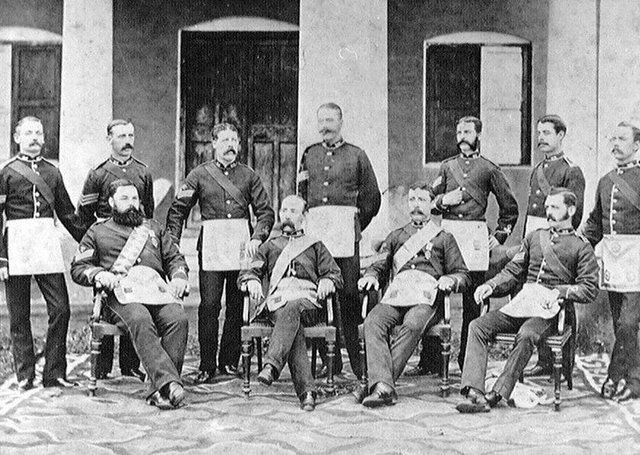 Members of the 37th (North Hampshire) Regiment's non-commissioned officers' Masonic Lodge, India, 1880 (circa). Picture: National Army Museum (https://www.nam.ac.uk/)