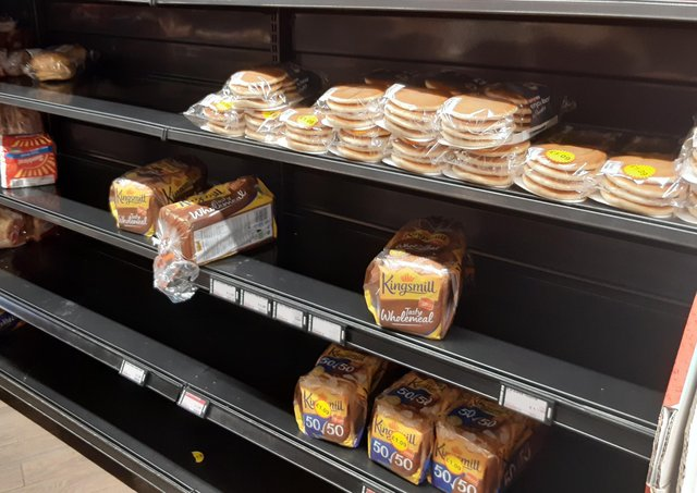 A News Letter reader in Loughbrickland sent in this photo of the bread shelves in her local shop today, which she said was 'unusually bare'.