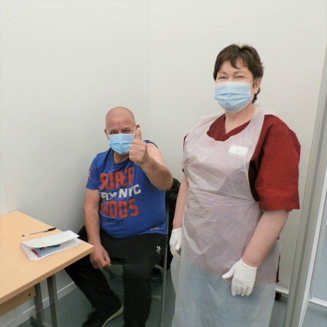 Martin Greene was among the first Moy Park employees to get vaccinated today (Thursday) with nurse Olive Sloan