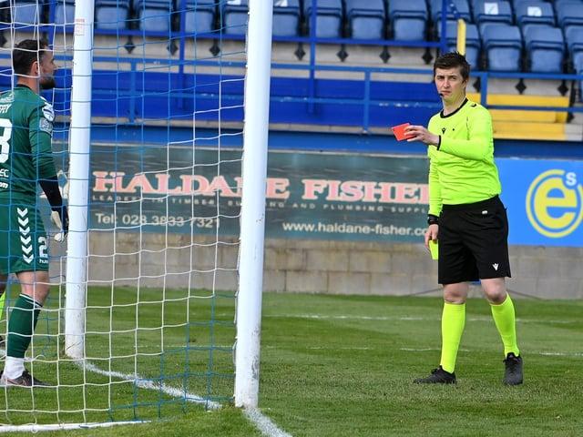 Jonny Tuffey is dismissed by referee Shane Andrews