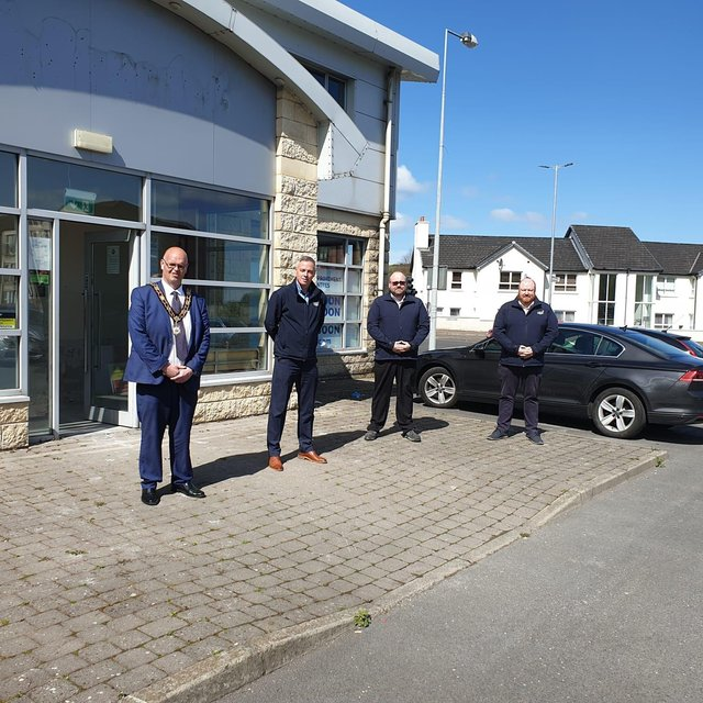 Mayor of Antrim and Newtownabbey, Councillor Jim Montgomery with HHI Newtownabbey Branch Manager, Gary Kee, David Dickson, HHI Kitchens Manager and Stephen Burgess, HHI Sales and Marketing Manager at the new HHI Premises in Glengormley